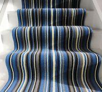 Modern Blue Grey Striped Hallway Stair Carpet Narrow Wide ...