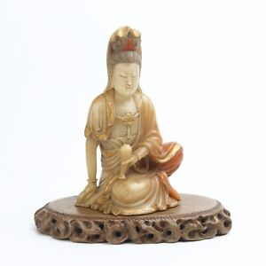 Antique Chinese Gilt Shoushan Stone Guanyin Statue with Stand