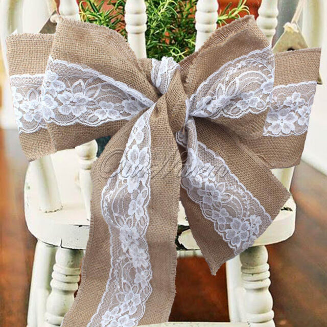 wedding chair sash free plans for building adirondack chairs 1 50 hessian burlap sashes lace rustic bows event 10 cover tie diy craft decor