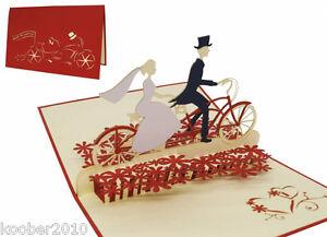 POP UP Karte Brautpaar auf Fahrrad Tandem 3D Klappkarte