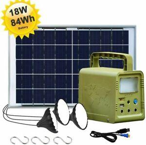 84 W·h Solar Panel Power Generator Kit, Portable Power Station 3 LED Solar Lamp