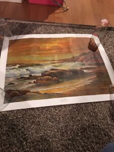 "Robert Wood Painting 1956 : robert, painting, Robert, Sunset, Shore, Lithograph, Canvas, 27""x21"""