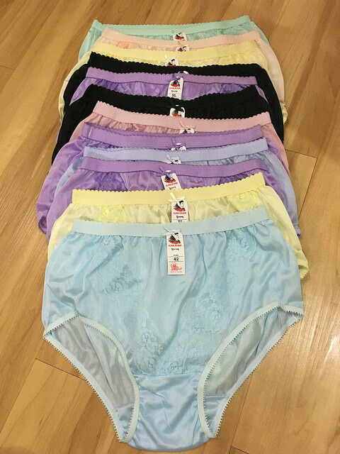 12 Pcs Pinup Vintage Style Sheer Nylon Panties Gusset Knickers Full Briefs For Sale Online Ebay