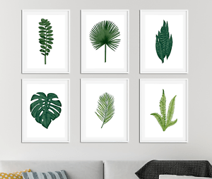 living room decor with plants next black gloss furniture 2 botanical prints pictures leaf palm fern image is loading