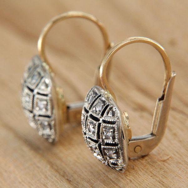 Yellow Gold Earrings 14 Kt. Diamonds Patch Hook Earwire Style Antique Era