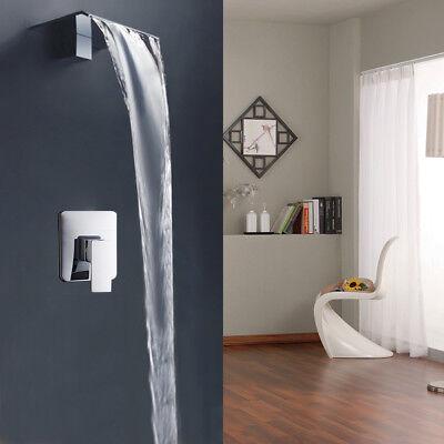 wall mounted bathroom sink bathtub waterfall wide spout faucet mixer tap chrome ebay