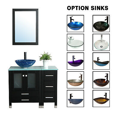 36 black bathroom vanity cabinet top tempered glass vessel sink faucet mirror ebay