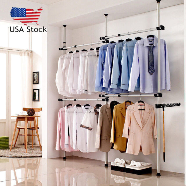 us heavy duty 2 tier 4 pole commercial garment rack collapsible clothing shelf