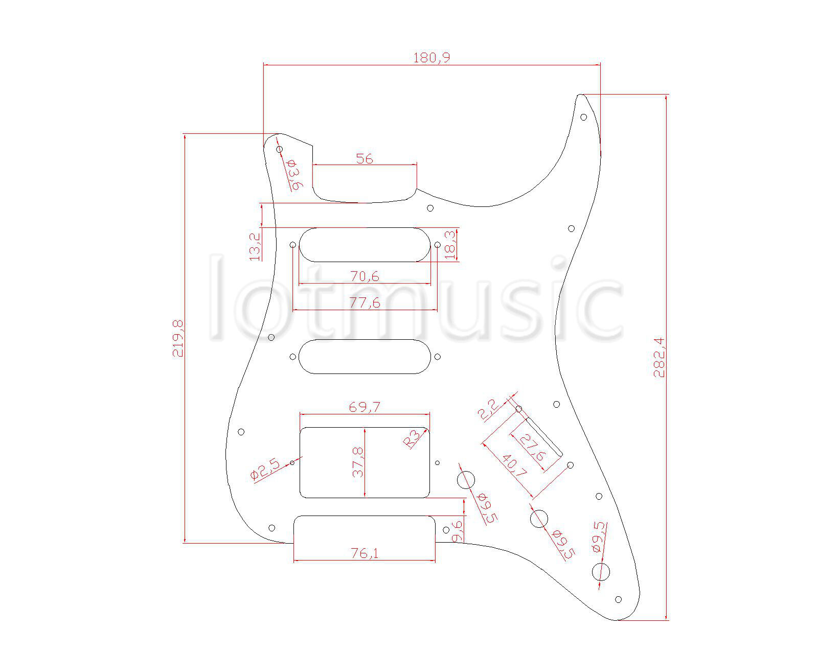 Mint Green 3 Ply HSS Guitar Pickguard Scratch Plate For