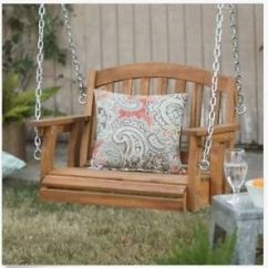 Hanging Chair Wood Correct Posture Kneeling Outdoor Wooden Porch Swing Single Seat Furniture Tree Image Is Loading