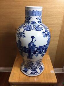 Large Antique Chinese Blue And White Vase
