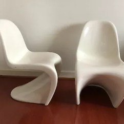S Chair Replica Silver Metal And Wood Dining Chairs Panton Fibreglass Platinum