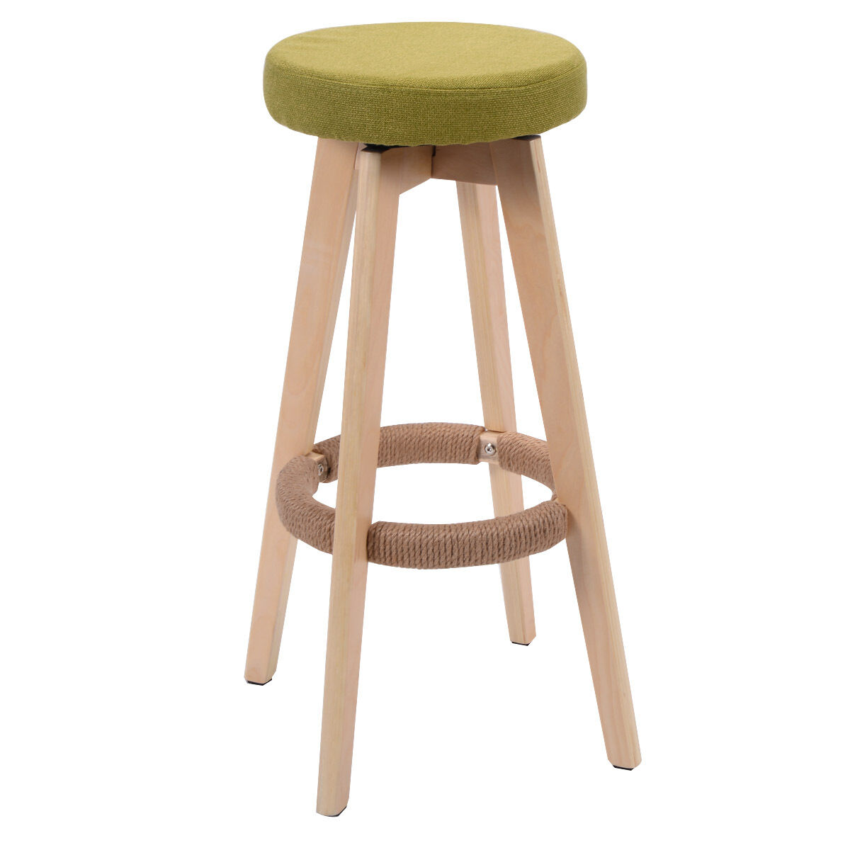 Bar Stool Chair Round Wooden Chair Linen Bar Stool Dining Counter