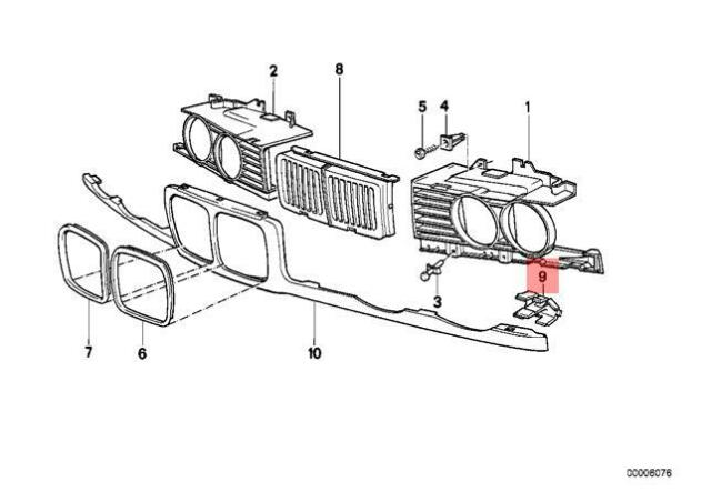 Genuine BMW E34 Sedan Wagon Clamp For Grill Covering Right