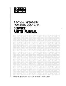 1991 1992 E-Z-GO Golf Cart Service Repair Parts Manual Gas