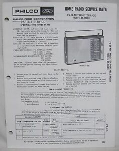 Original PHILCO FORD ST-986BK Transistor Radio SERVICE MANUAL