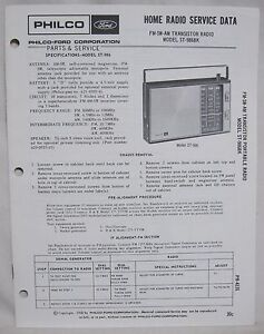 Original PHILCO FORD ST-986BK Transistor Radio SERVICE
