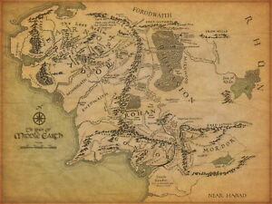 details zu 63444 lord of the rings middle earth world map wall print poster plakat