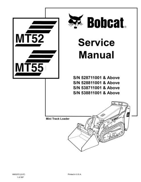Bobcat Mt52 Mt55 Mini Track Loader Service Manual Shop