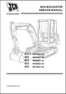 JCB 802.7 803 804 Mini Excavator Service Repair Manual CD