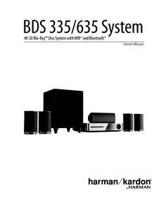 Harman Kardon BDS335 Blu-ray Player Owners Instruction