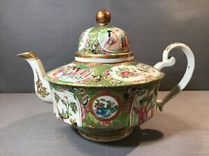 Rarest ANTIQUE CHINESE EARLY 1800's ROSE MEDALLION Coffee Pot Teapot EX COND