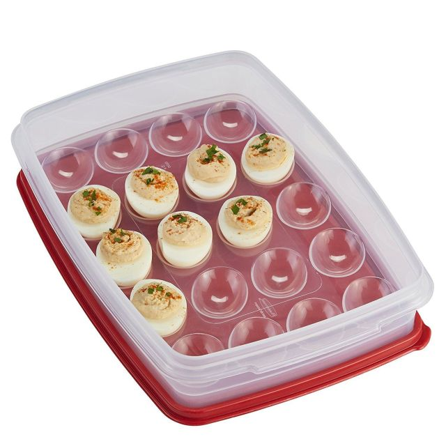 Rubbermaid Deviled Egg Keeper Tray - Food Storage Container, Red. Holds 20 Eggs! 2
