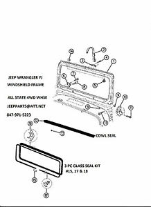 WINDSHIELD FRAME COWL & GLASS SEALS 1987-1995 JEEP