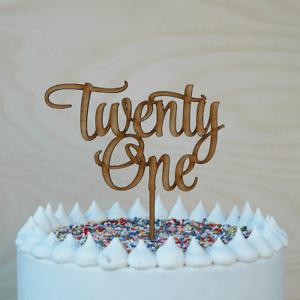 21st Birthday Cake Topper Wooden Happy Twenty First Cake Decor