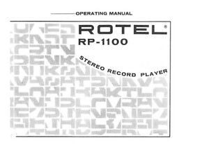 Rotel RP-1100 Turntable Owners Manual
