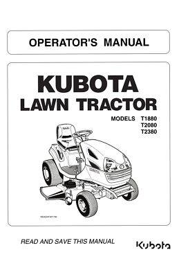 KUBOTA LAWN TRACTOR T1880 T2080 T2380 OPERATOR MANUAL