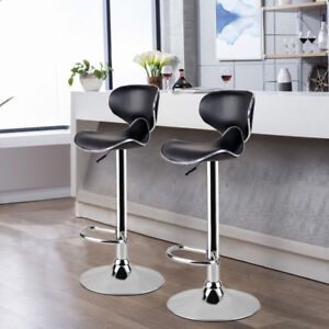 kitchen stools stainless trash can 2piece metal chrome base stool leather padded bar image is loading