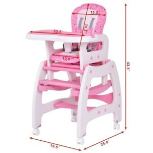 baby girl chair bergere and ottoman silla de bebe costway kids high for booster seat details about table pink