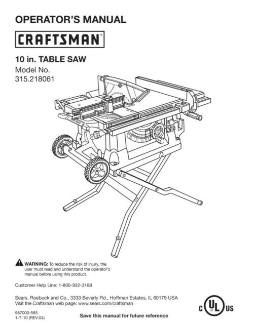Craftsman 315.218061 Table Saw Owners Instruction Manual