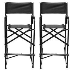 Tall Director Chair Wheelchair Repair Directors Chairs Black Aluminum Folding Outdoor Indoor Image Is Loading