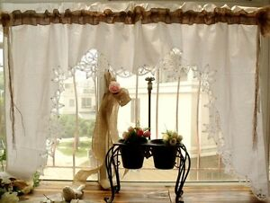 Sets Shabby Country Chic Burlap Lace Swag Curtain Valance HAND