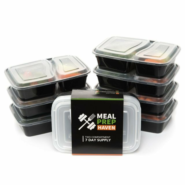 Meal Prep Food Containers Lunch Box Microwave Safe 2 Compartment Bento 7 pcs 2