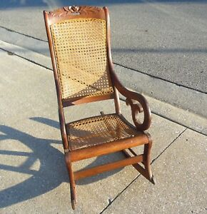 rocking chair cane accent arm chairs living room antique 1890 lincoln victorian carved rose floral maple wood details about back rocker