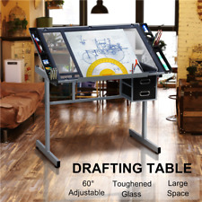 adjustable drafting drawing craft table art glass desk w storage drawers us