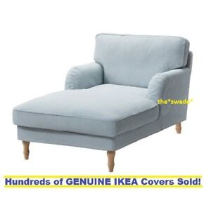 ikea stocksund chair covers upholstered chairs chaise lounge cover slipcover remvallen blue white image is loading
