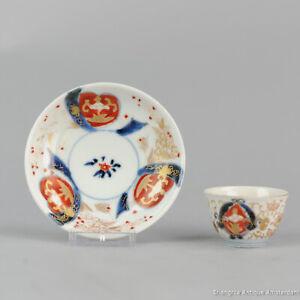 Antique 18th c Japanese Porcelain Imari Tea Bowl Cup Saucer Tea Drinking