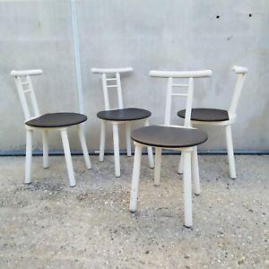 Set di 6 sedie attribuite a afra e tobia scarpa del '66 con seduta e schienale in compensato rivestito in pelle nera e gambe in faggio con struttura a doppio cavalletto. 4 Sedie In Legno Di Faggio Laccato Bianco Design Danese Scandinavo Anni 70 80 Ebay