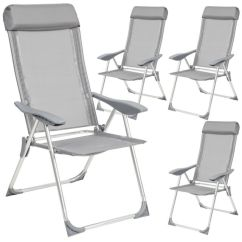 Black Metal Folding Garden Chairs Reclining Chair And Ottoman Tectake Set Of 4 Aluminium Adjustable With Outdoor Camping Patio Furniture Silver