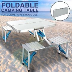Folding Table And Chair Set Gym Ebay Aluminum Portable Camping Picnic 4 Chairs Outdoor New Suitcase