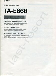 Sony TA-E 86B Bedienungsanleitung / Operating Instructions