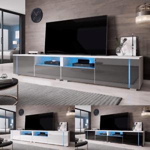 details sur furnix meuble tv banc tv prado double 2 x100 cm avec led 3 couleurs a choisir