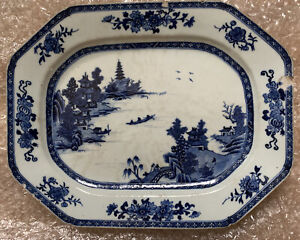 Antique Chinese Export Canton Blue And White Porcelain Platter
