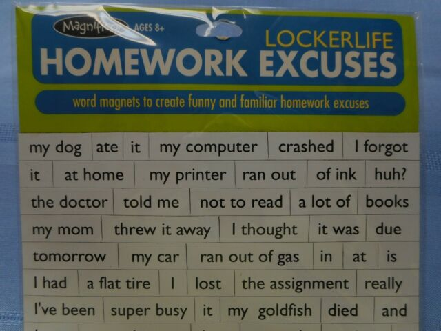 NEW Magnifico! Lockerlife Homework Excuses Magnets from Magnetic Poetry | eBay