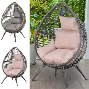 details about rattan wicker teardrop chair lounger soft cushioned poolside patio seat