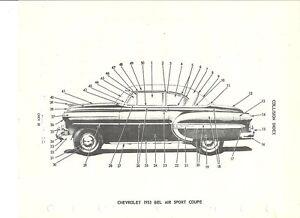 1953 1954 Chevrolet Bel Air Sport Coupe Hardtop NOS